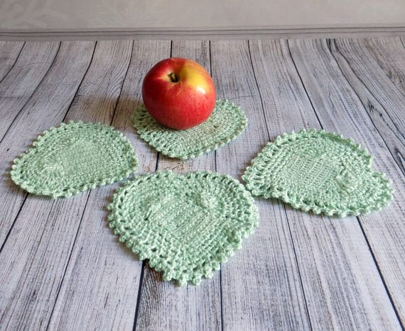 Crochet coasters Set of 4 stands under  hot cup Crochet hearts