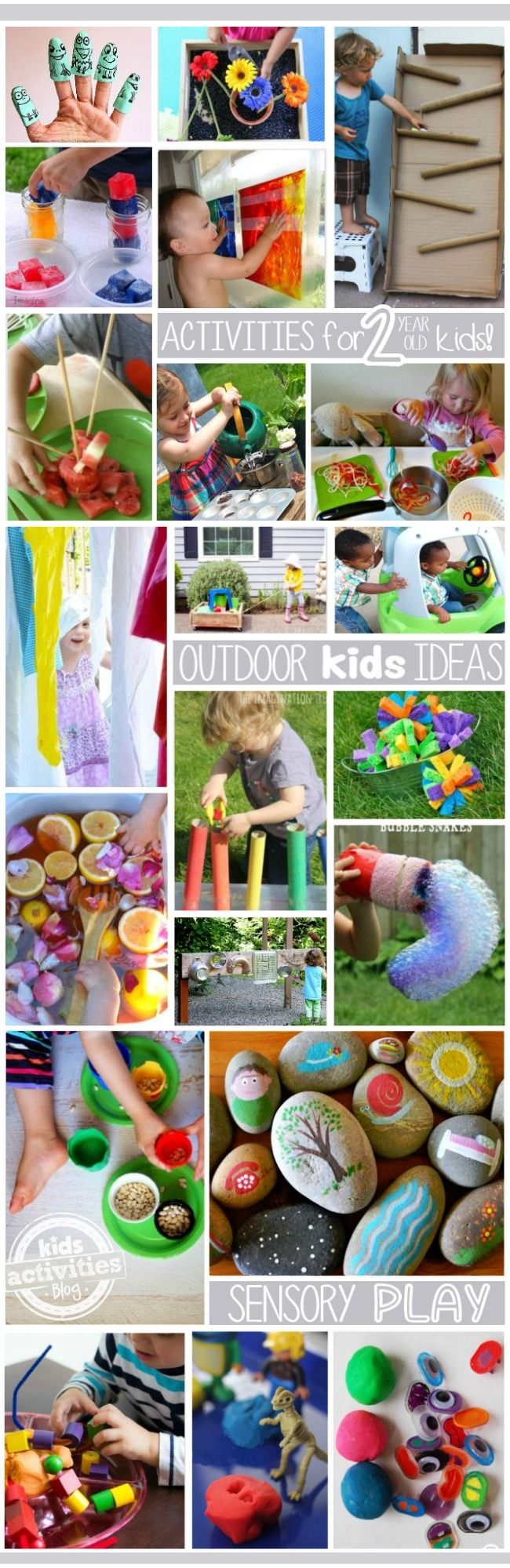 Over 80 ideas for 2 year olds! Sensory, rainbow, outdoor, and paint are just some of the categories filled with toddler activities. This is must pin for those of us with little ones!