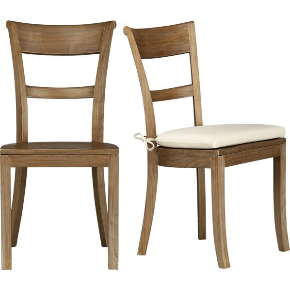 Kipling Grey Wash Side Chair and Ivory Cushion in Dining, Kitchen Chairs | Crate and Barrel