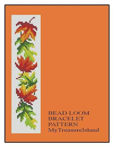 Bead Loom OR Peyote Maple Leaves Border Bracelet Pattern PDF