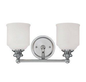 Savoy House 8-6836-2-11 Melrose - Two Light Bath Bar, Polished Chrome Finish with White Opal Etched Glass by Savoy House. $58.00. The Melrose Bath Collection Boasts Chic Modern Lines , White Globes And A Polished Chrome Finish. Style Meets Value! Shade Included: TRUE.