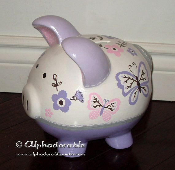 Nautical artisan hand painted ceramic personalized custom piggy bank ocean pirate sailboat - Nautical piggy banks ...