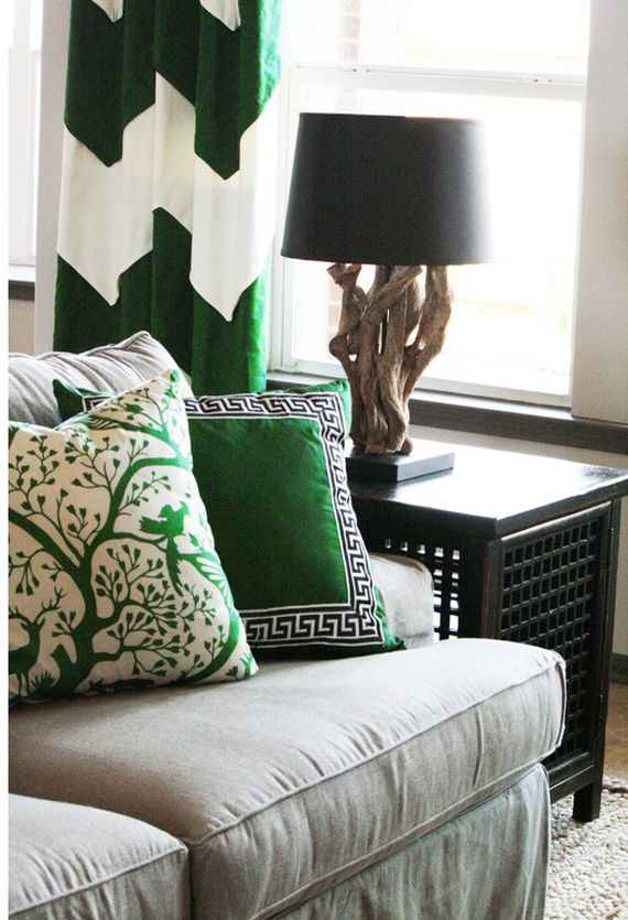 A touch of emerald... color of the year and a gorgeous folk print pattern with moderns.
