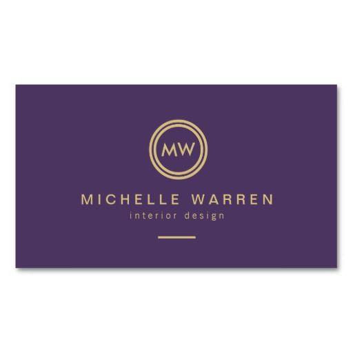 177 best plain monogram business cards images on pinterest modern circle monogram initials on royal purple business card colourmoves