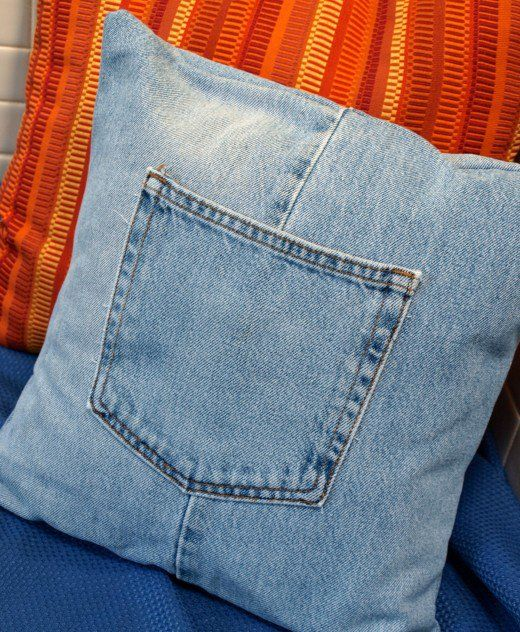 Cute denim throw pillow, perfect for my living room couch.