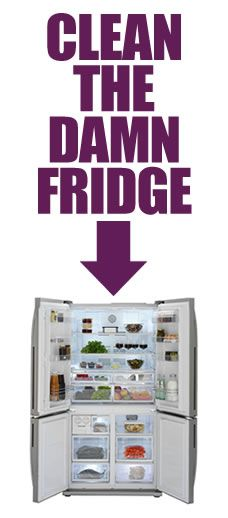 Clean The Damn Fridge!     Easy, step by step fridge cleaningCleaning Tips Tricks, Refrigerators Cleaning, Cleanses, Refrigerator Cleaning, Cleaning The Fridge, Cleaning Fridge, Nature Cleaning, Fridge Cleaning, Cleaning Stainless