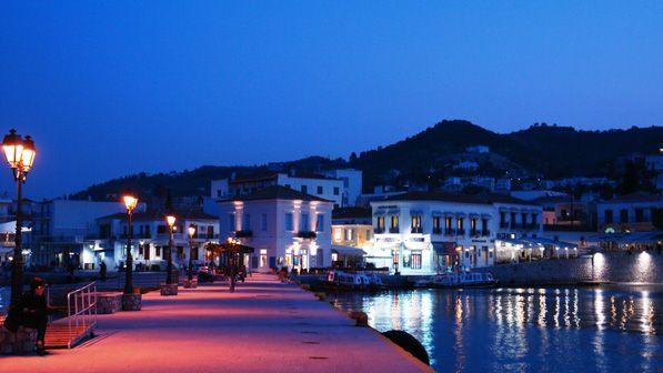 Spetses port by night