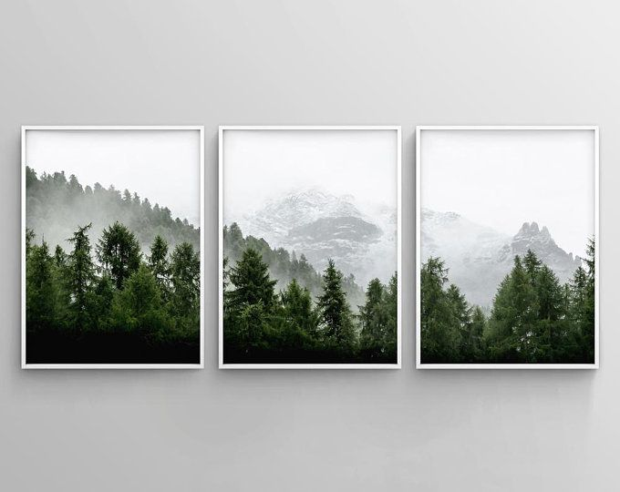 Black And White Mountain Print Set Of 3 Snow Mountain Etsy In 2021 Forest Wall Art Diy Canvas Wall Art Diy Canvas Art