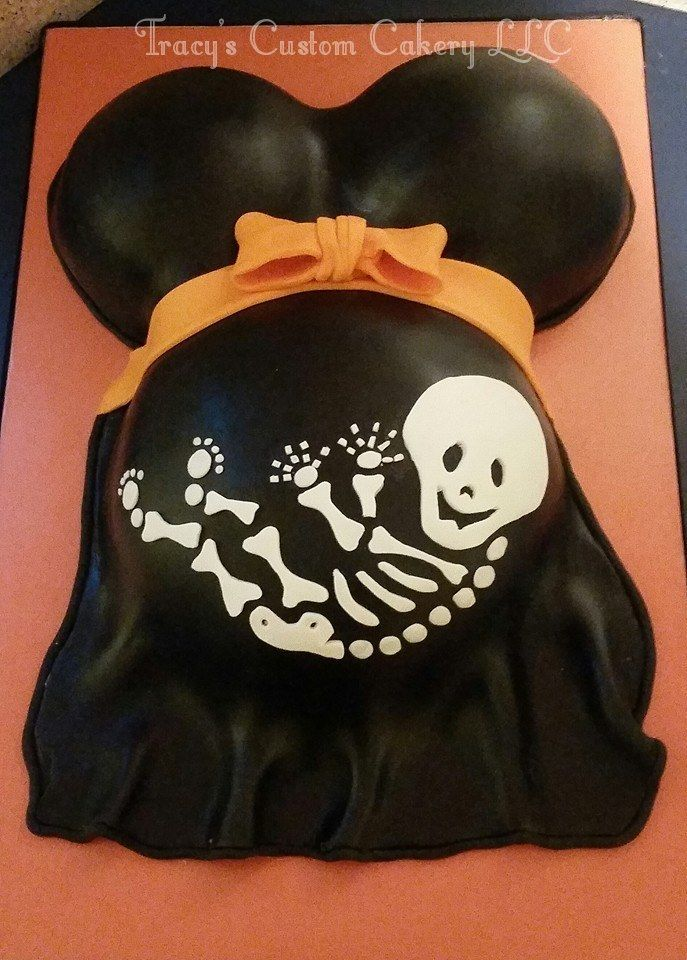 Halloween Skeleton Baby Bump Cake