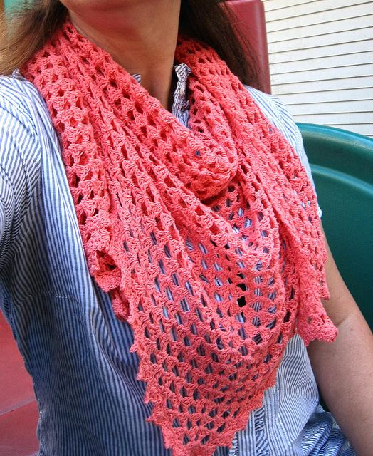 triangle granny square scarf crocheted in thread with a pretty picot edging