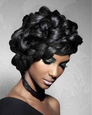 African American wedding hair | Vibrantbride.com A long black straight wavy sculptured relaxed ethnic hairstyle by Hype Coiffure