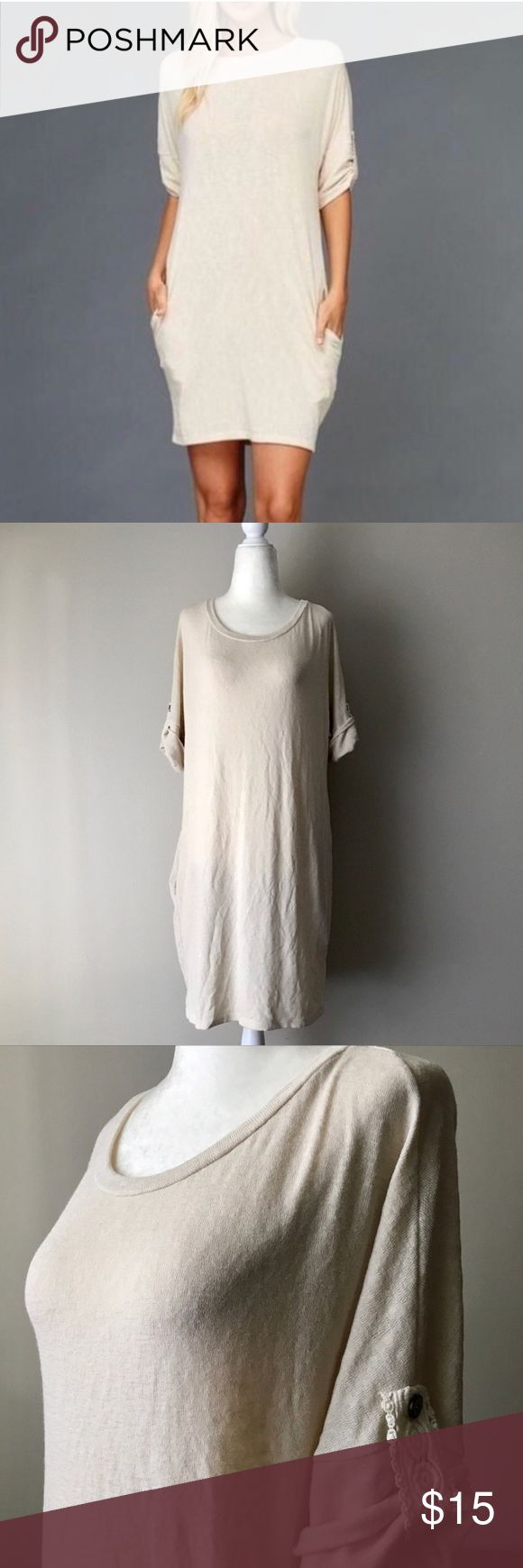Cream sweater dress Cream sweater dress with cute laced accents on the sleeves with pockets! Soft sweater material Dresses Midi