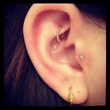 Cute!   #ear #piercings #tragus #rook #lobe