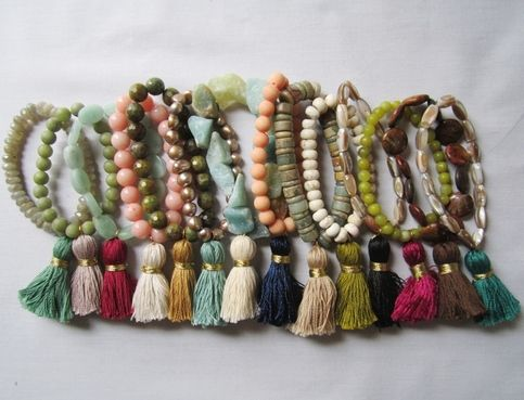 Each of these stretch bracelets is one-of-a-kind and features a handmade tassel and semi-precious stones. No design is ever repeated so each is unique to you! Double strung for security. Layer them up or wear just one! Individual orders please send a message at time of order if you have a preferr...