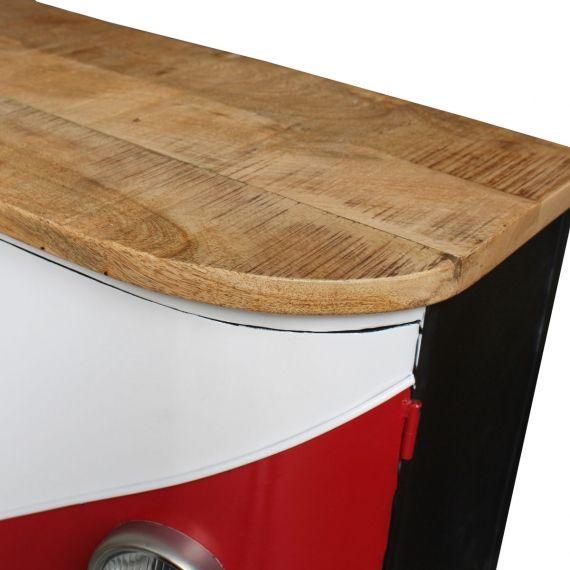 Buffet 3 Portes Combi Rouge Meuble Cuisine Bois Meuble En Pin Massif Table Basse Bois Massif