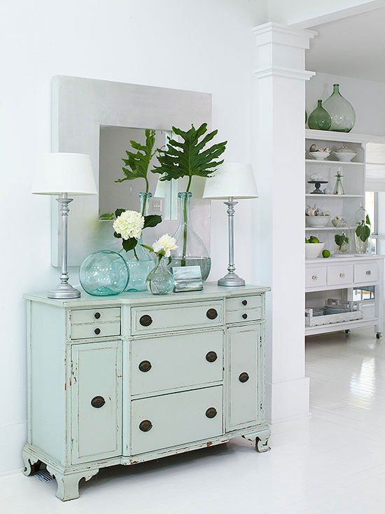soft blue sideboard + blue glass vases ♥