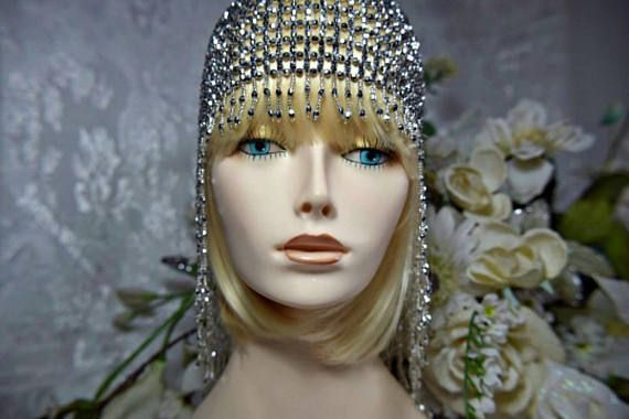 gatsby headpiece, 1920s headpiece, roaring 20s headpiece, gatsby wedding headpiece, silver beaded great gatsby headpiece, art deco headpiece, 1920s flapper silver beaded gatsby wedding headpiece, gatsby dress, 1920s dress, flapper dress, gatsby accessories, gatsby party, gatsby accessories, gatsby party  SHIMMERING Antique SILVER tone- beaded headpiece from the era of decadence  The Great Gatsby Roaring 20s Flapper style Glitz and Glam for your Gatsby venue. JUST FABULOUS!!!!  Elasticized…