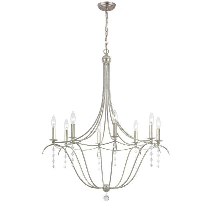 crystorama metro 8light chandelier in antique silver