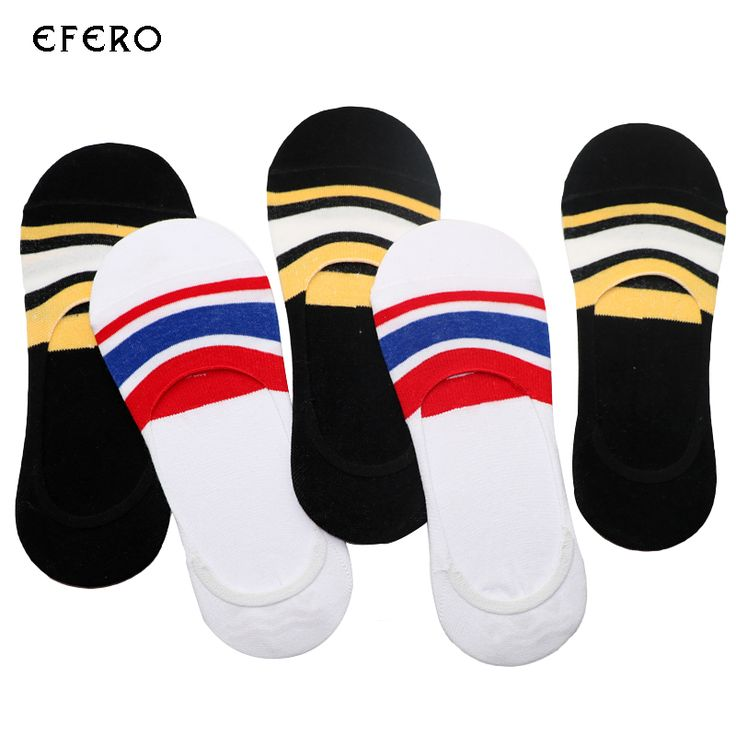 5Pairs Men Novelty Socks Short Calcetines Hombre Meias Thin Men's Socks Striped  Invisibles No Show Socks 3D Compression Sock #Affiliate