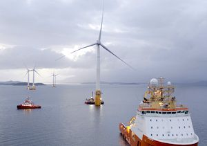 Floating Turbines for Hywind Scotland Offshore Wind Farm in Transit