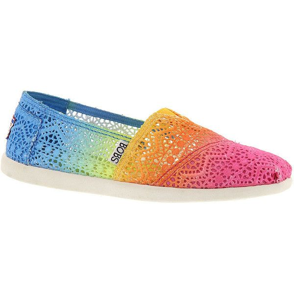 Skechers USA Bobs World Crochet ($50) ❤ liked on Polyvore featuring shoes, rainbow, rainbow shoes, macrame shoes, skechers, skechers footwear and american shoes