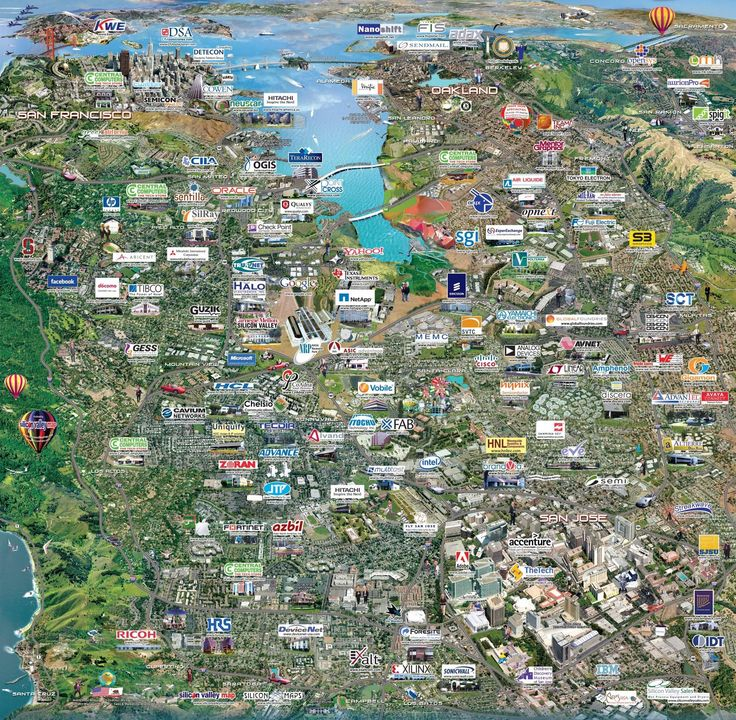 Tech Companies in Silicon Valley Map, Cartography