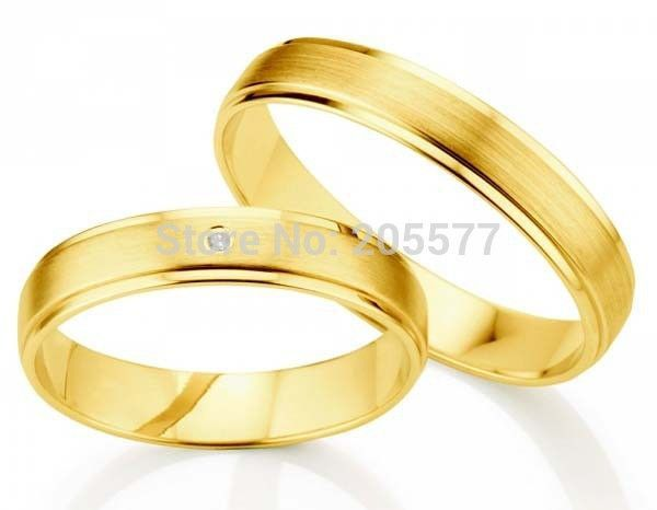 anel ouro 100% pure titanium Jewelry 2014 new design gold plating his and hers engagement wedding ring pair