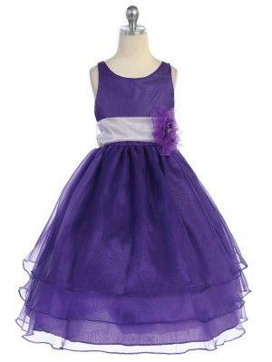 Purple 3 Layered Organza Pick Your Sash Flower Girl Dress (Infants to Girls Size 12) - Flower Girl Dresses - GIRLS