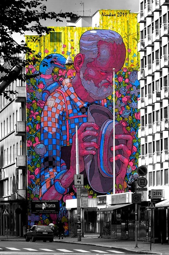 Turku street mural, Eerikinkatu, Finland...