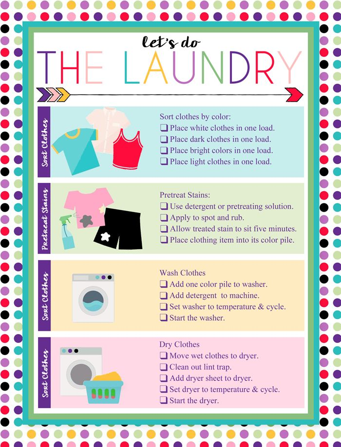 free printable laundry chart charts and kid. Black Bedroom Furniture Sets. Home Design Ideas