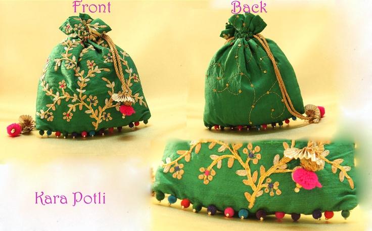 Pitta: Green Raw Silk Potli With Pita and Gota Embroidery  Price: 1500 Rs