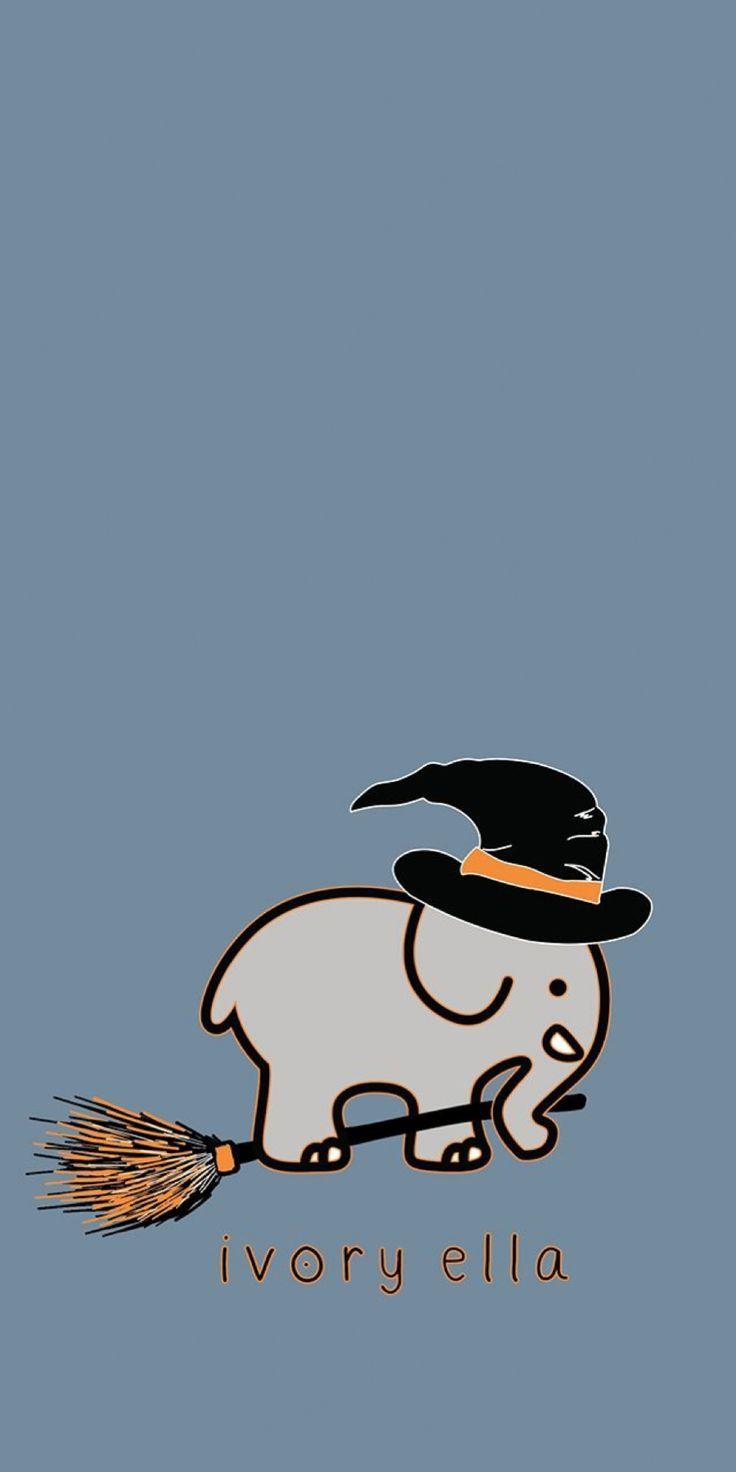 Ivory Ella Wallpaper Background Iphone Halloween Elephant Witch