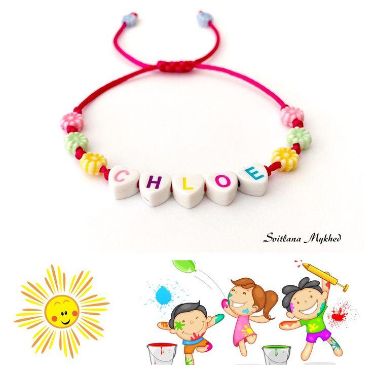"""Bracelet """"Chloe"""". bracelet homme, femme, enfant avec prénom ou message : Bracelet par perles-et-couronnes"""