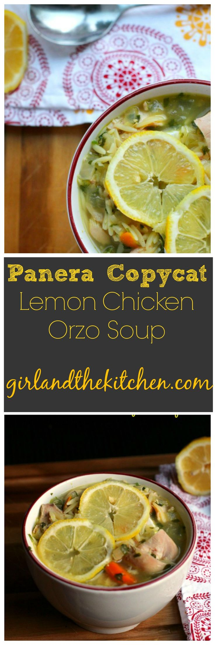 A perfect take on the popular Panera Lemon Chicken Orzo soup!  A healthy and fresh soup bursting with bright lemony flavors and tender orzo pasta!