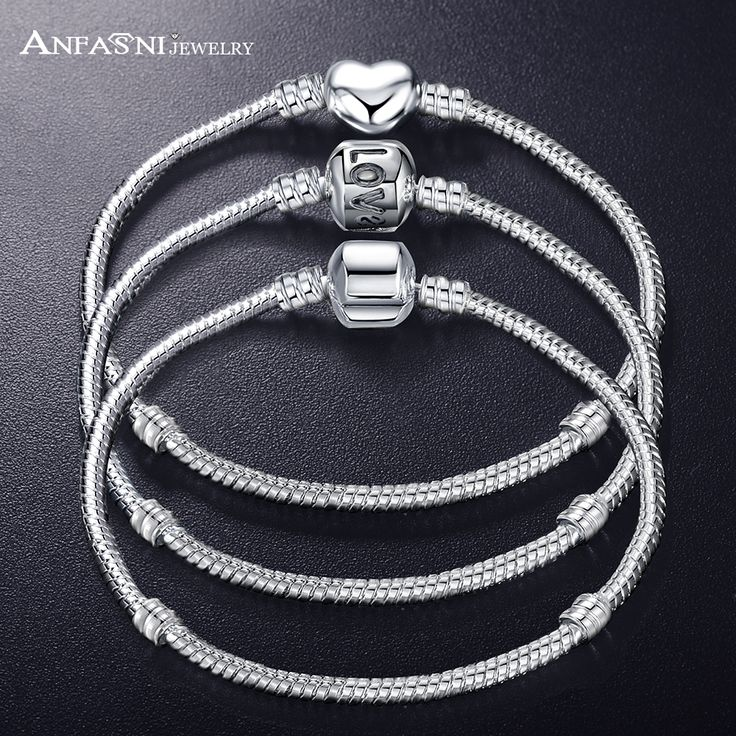 ANFASNI New Fashion Love Snake Chain Silver Color Fit Original Bracelet Bangle Charm Bead For Women Gift 17CM-21CM