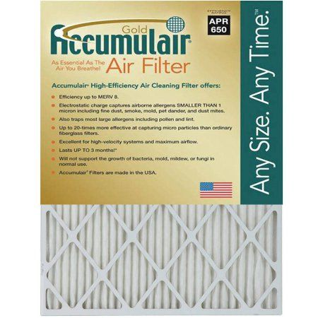 Accumulair Gold 1 inch Air Filter, 4-Pack