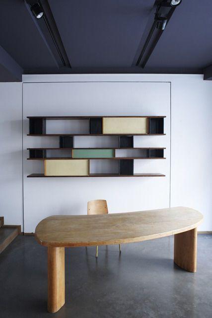 Charlotte Perriand . bookcase and freeform desk, ca. 1955 + ca. 1947