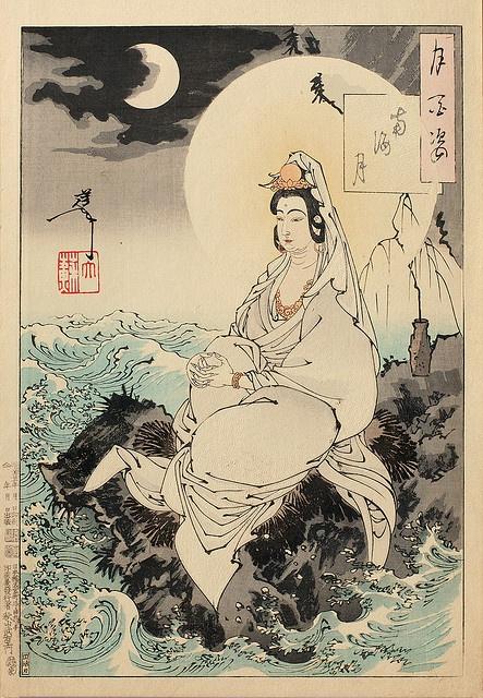 """南海の月 / Moon of the Southern Sea from """"One Hundred Aspects of the Moon"""" series, 1888 by Yoshitoshi Tsukioka"""