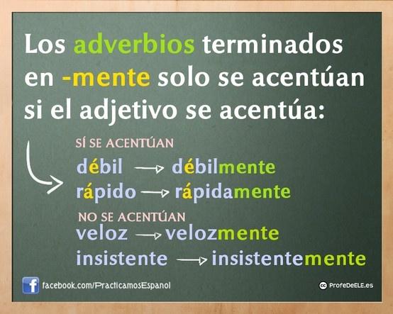 Regla de acentuación de los adverbios en -mente | #twitterELE #spanishteachers @ProfeDeELE.es.es