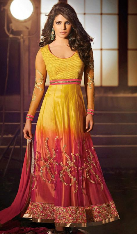Look effortlessly chic as Priyanka Chopra in this yellow and red net long Anarkali suit. The lovely lace, resham and stones work a considerable element of this dress. #PriyankachopraCollection