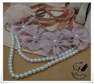Vintage Double Pearl With Flower Lace Necklace