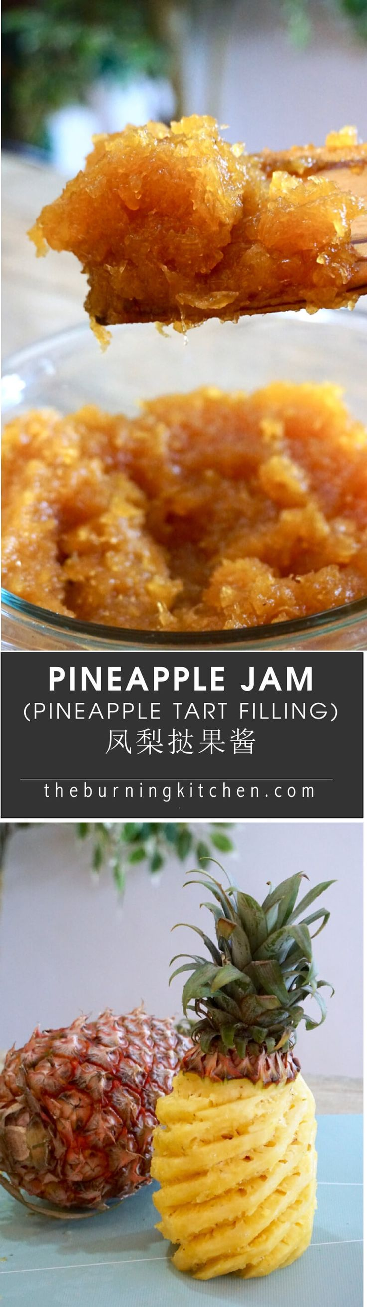 Spiced Pineapple Jam (Pineapple Tart Filling): Nothing beats homemade pineapple jam where you can take ultimate control to get your preferred texture, sweetness level and spice flavour. This recipe teaches you how to make your own pineapple jam from scratch using 5 ingredients: fresh ripened honey pineapples, sugar, cinnamon, cloves and star anise, and it is super duper delicious and very satisfying to make!