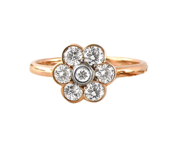 An 18ct Rose Gold and Diamond Floral Cluster Halo Ring