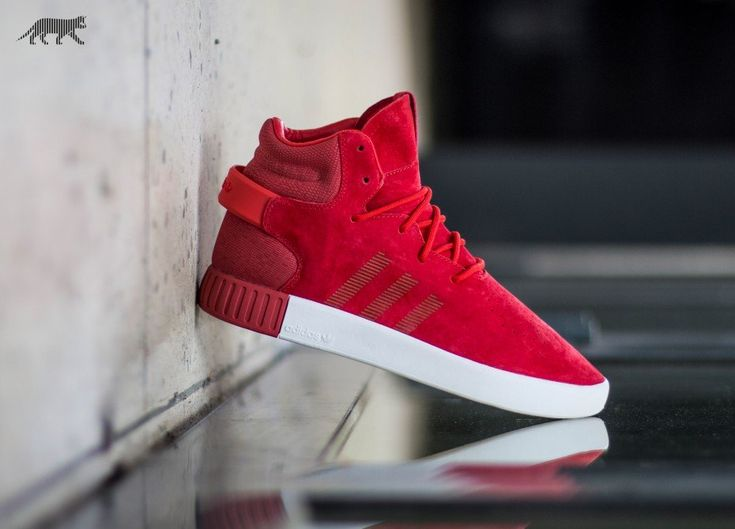 Adidas Originals Tubular Invader Trainers Red/White - Men's Shoes