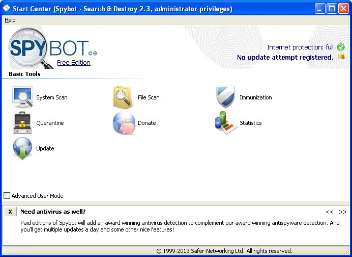 Spybot - Search & Destroy detects and removes spyware, a relatively new kind of threat not yet covered by common anti-virus applications. Spyware silently tracks your surfing behaviour to create a marketing profile for you that is transmitted without your knowledge to the compilers and sold to advertising companies.