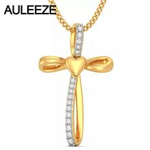 Trendy Cross Necklace For Women Jewelry Solid 14K Yellow Gold Pendant Natural Diamond Necklace Guardian Of Love Heart Design //Price: $US $446.00 & FREE Shipping //     #hashtag2
