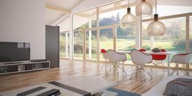 Projeto de casa pequena para terreno estreito. Casa pequena com teto abobadado na área de estar, terraço coberto, três quartos.