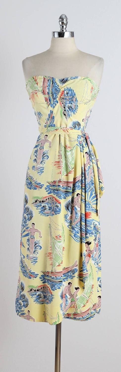 Vintage 1950s Surfriders Hawaiian Dress and Bolero   From a collection of rare vintage day dresses at https://www.1stdibs.com/fashion/clothing/day-dresses/