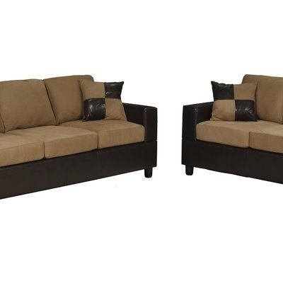 Bobkona Seattle Microfiber Sofa And Loveseat 2 Piece Set In Saddle Color