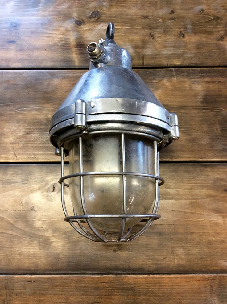 This large marine ships pendant light is an original vintage supertanker caged steel anti explosion model manufactured between it has a truly rust